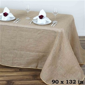 "6' Jute/Burlap Table Cover 86"" x 128"" W/ 1-Color Silk-Screen"