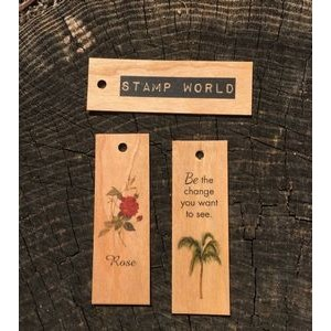 "1"" x 3"" - Wood Veneer Tags - 1 Sided Color Print - USA-Made"