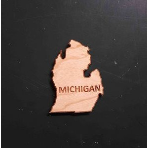 "2"" - Michigan Engraved Hardwood Magnets - USA-Made"