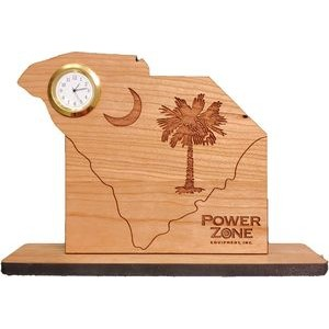 "6"" x 8"" - South Carolina Engraved Hardwood Desktop Clocks - USA-Made"