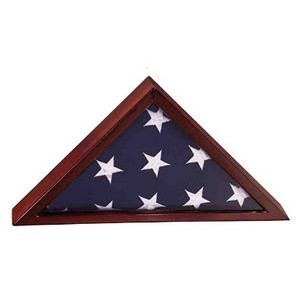 "12.5"" x 25"" - Rosewood Piano Finish Flag Display Case w/ Custom Plate"