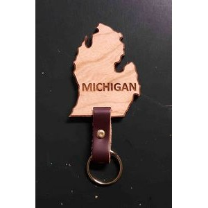 "2"" - Michigan Engraved Hardwood Keychains - USA-Made"