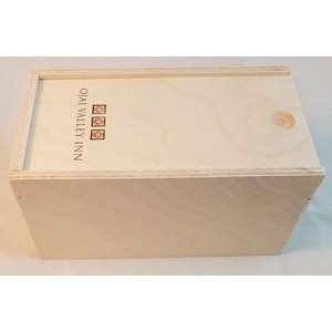 "6"" x 12"" - Wood Wine Box with Slide Top Lid - Baltic Birch - Laser Engraved"