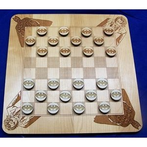 "11"" x 11"" - Hardwood Game - Checkers Board and Pieces - Laser Engraved - USA-Made"