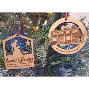 "3.5"" - Laser Engraved Solid Hardwood Ornaments - USA-Made"
