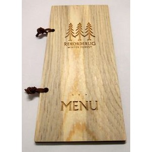 "4"" x 9"" - Hardwood Menu Book - Laser Engraved - USA-Made"