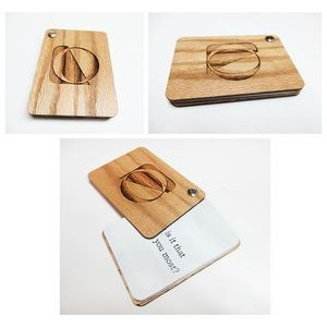 "2.5"" x 3.5"" - Engraved Hardwood Swivel Booklets - USA-Made"
