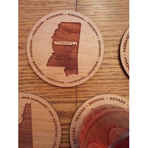 "3.5"" - Mississippi Engraved Hardwood Coasters - USA-Made"