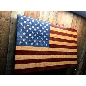 "21"" x 34"" - Hand Stained American Flag - USA-Made by Veterans"