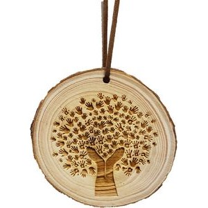 "3.5"" - Assorted Hardwood Ornaments - Bark Edge - Laser Engraved - USA-Made"