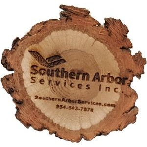 "2.5"" - Assorted Hardwood Species Bark Edge Magnets - Laser Engraved - USA-Made"