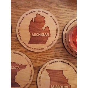 "3.5"" - Michigan Engraved Hardwood Coasters - USA-Made"