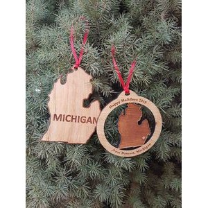 "3.5"" - Michigan Engraved Solid Hardwood Ornaments - USA-Made"