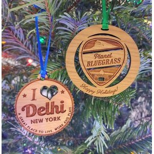 "2.75"" - Solid Hardwood Laser Engraved Ornaments - USA-Made"
