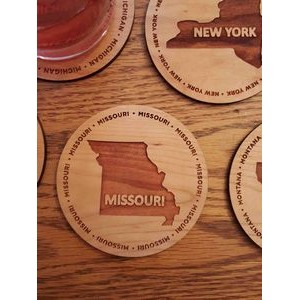 "3.5"" - Missouri Engraved Hardwood Coasters - USA-Made"