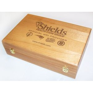 "8"" x 14"" - Hardwood Box - Partitioned Wine with Hinge Lid - Laser Engraved - USA-Made"