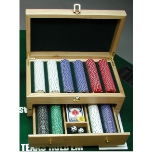 "8.25"" x 14.25"" - Hardwood Box - Poker Set - Laser Engraved"
