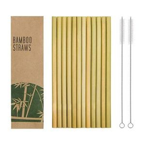 12pcs Reusable Bamboo Drinking Straw W/ Cleaning Brush In Paper Box