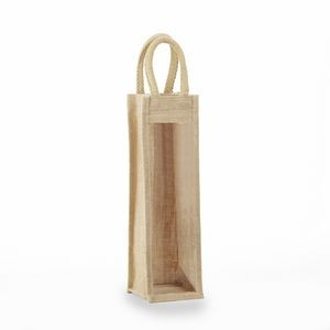 Jute - One Bottle Clear & Solid Front Burlap Wine Bag