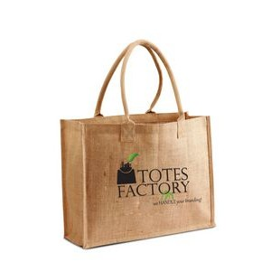 Jute - Burlap Shopping Tote With Cotton Webbed Handles