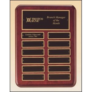 "Rosewood Stained Piano Finish Perpetual Plaque w/2 Plate Combinations (9""x12"")"