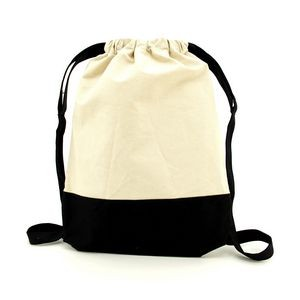 Contrast Cotton Canvas Drawstring Backpack