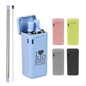 Reusable Folding Stainless Steel Straw With Carring Case