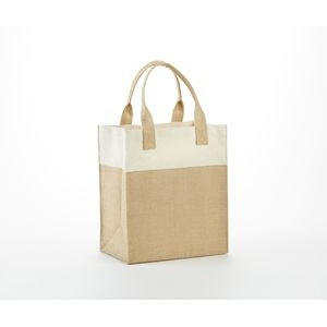 Mini Jute Gift Bag with colored cotton trims and self handle