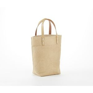 "Mini Jute Gift Tote Bag with Leather handles. 11"" X 13"" X 7"""