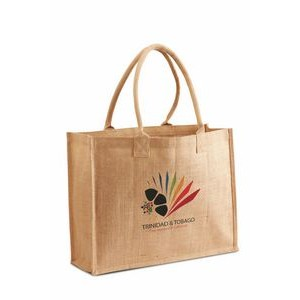 Jute Shopping Tote with Cotton Web Handle