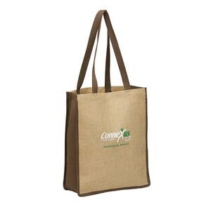 Vertical Jute Tote Bag w/ Wide Mouth