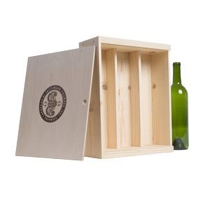 Wood Wine Gift Box Crate (Three Bottle) Made in California