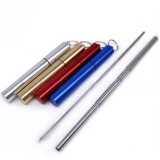 Collapsible Stainless Reusable Straw in metal Case