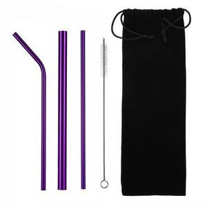 Stainless Reusable Straw in velour or fabric pouch